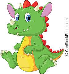 bebé, lindo, caricatura, dragón