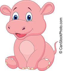 bebé, lindo, caricatura, hipopótamo