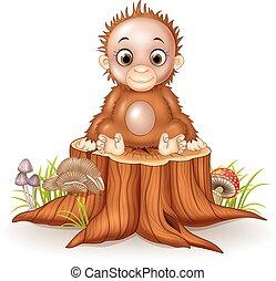 bebé, lindo, caricatura, mono, sentado