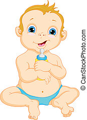 bebé, lindo, caricatura, niño