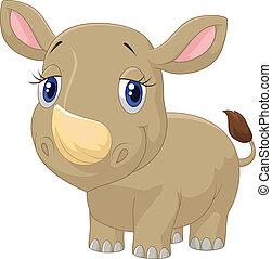 bebé, lindo, caricatura, rinoceronte