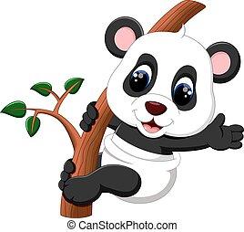 bebé, lindo, cartón, panda