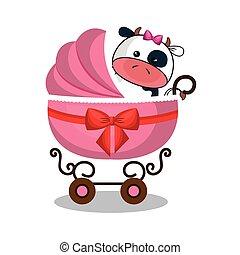 bebé, lindo, disecado, carrito, animal