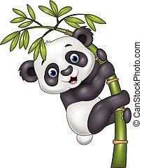 bebé, lindo, divertido, panda, ahorcadura