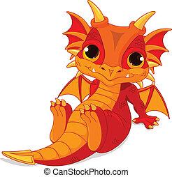 bebé, lindo, dragón