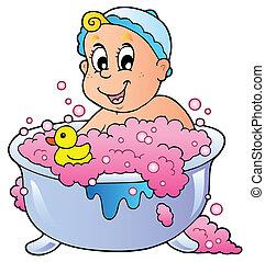 bebé, lindo, el bañarse
