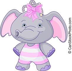 bebé, lindo, elefante