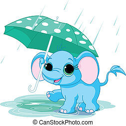 bebé, lindo, elefante, paraguas, debajo