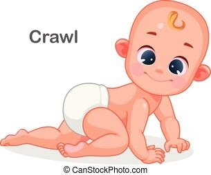 bebé, lindo, gatear