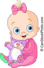 bebé, lindo, niña, oso, teddy