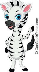 bebé, lindo, ondulación, zebra, caricatura