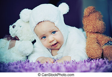 bebé, lindo, osos