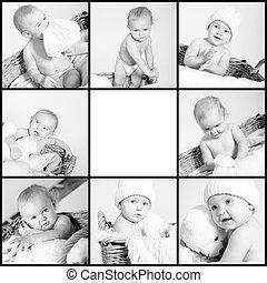 bebé, lindo, poco,  collage, Monocromo