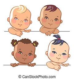 bebé, lindo, poco, conjunto, niñas