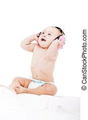 bebé, lindo, poco, protección, Audífonos