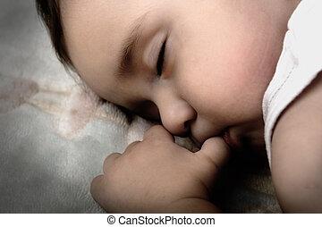 bebé, lindo, poco, sueño