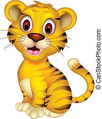 bebé, lindo, posar, tigre