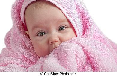 bebé, lindo, rosa, toalla