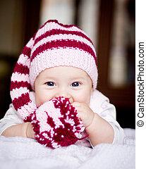 bebé, lindo, sombrero, pompón