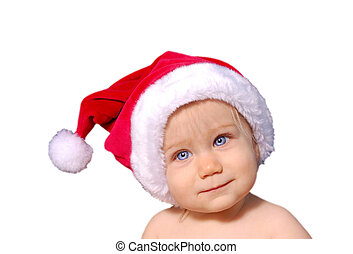 bebé, lindo, sombrero, santa