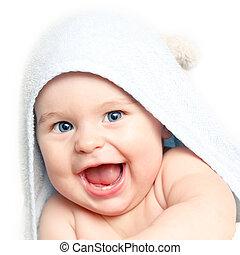 bebé, lindo, sonriente