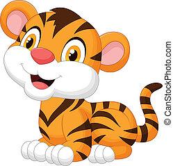 bebé, lindo, tigre, caricatura