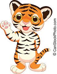 bebé, lindo, tigre, caricatura, ondulación