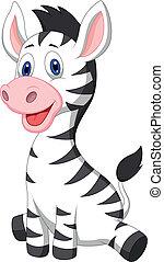 bebé, lindo, zebra, caricatura