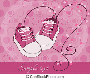 bebé, llegada, niña, shoes, tarjeta