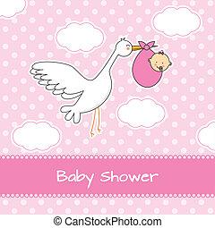 bebé, llegada, niña, tarjeta, anuncio