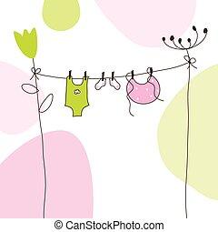 bebé, llegada, tarjeta