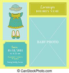 bebé, llegada, tarjeta, -, con, nena, vestido, y, foto, frame-, en, vector
