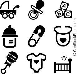 bebé, llenar, iconos