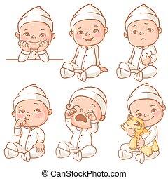 bebé, llevando, poco, de pijama