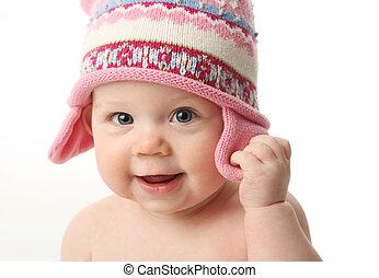 bebé, llevando, sombrero, invierno
