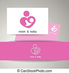 bebé, logotipo, mamá, identidad