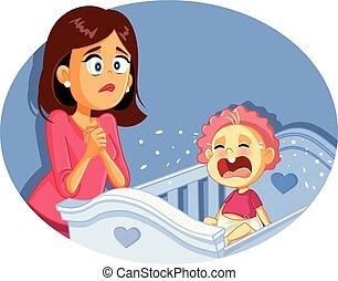 bebé, luego, vector, preocupado, llanto, madre, ilustración