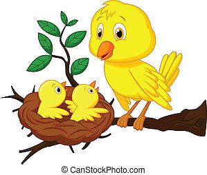 bebé, madre, caricatura, pájaro