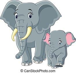 bebé, madre, elefante