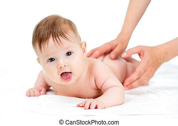 bebé masaje, obteniendo