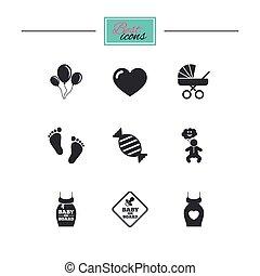bebé, maternidad, embarazo, icons., cuidado