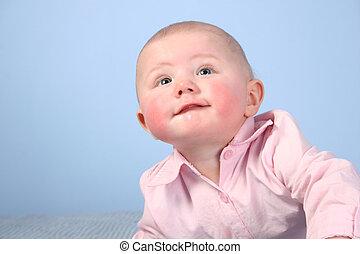 bebé, mejilla, cara roja