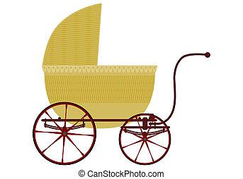 bebé, mimbre, carruaje