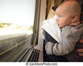 bebé, mirar, ventana, tren, afuera