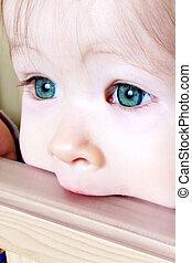 bebé, morder, en, pesebre, -, primer plano, de, ojos verdes