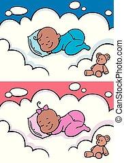 bebé, negro, sueño