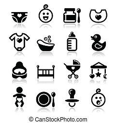 bebé, niñez, vector, iconos, conjunto