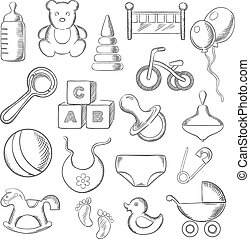 bebé, niñez, y, infantil, sketched, iconos