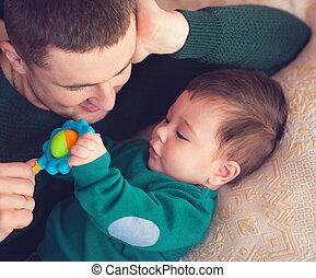 bebé, niño, amoroso, padre, retrato