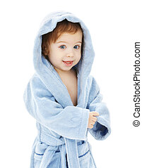 bebé, niño, bata, azul
